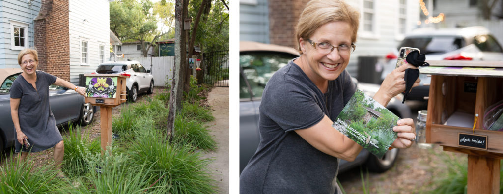 Jennife Wolfe showing off her little free library with native plant landscaping literature