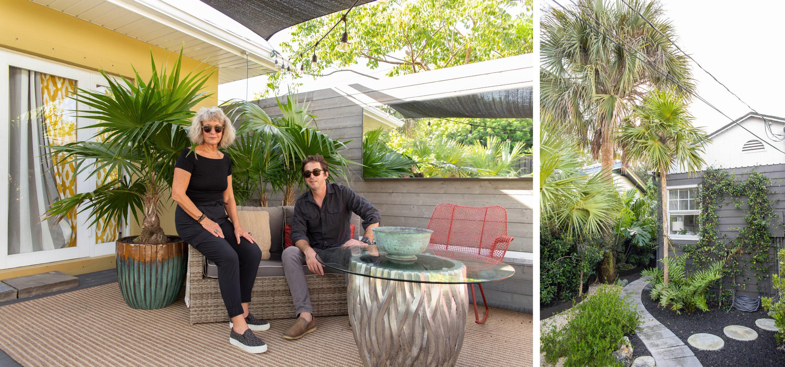 Debra Yates & Ben Burle in an upscale landscape featuring native plants